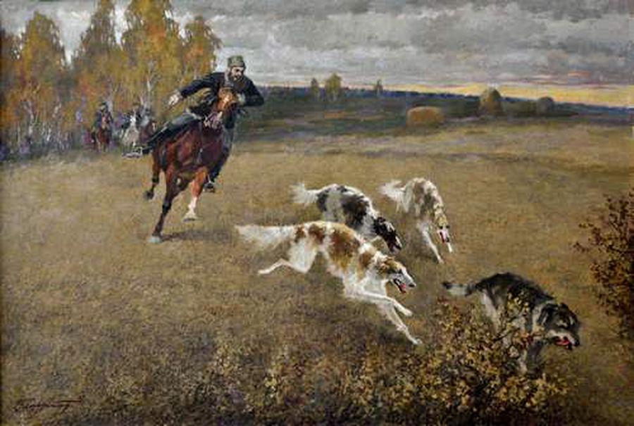 охота на волка с русскими борзыми