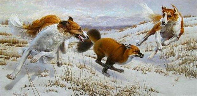 охота с борзыми на лису картина